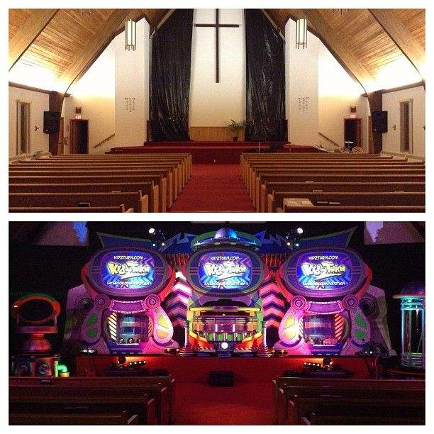 another great week, sharing the Gospel with the families of Hyannis, MA here's a before/after shot of our invasion at Faith Assembly #AlienChurchMakeover #kidmin #vbs