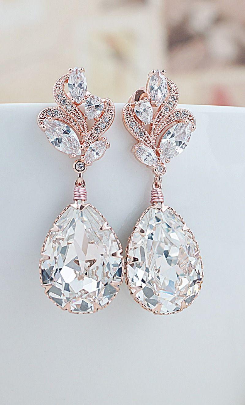 Clip On Earrings Light Rose Diamante Tear Drop Earrings - Swarovski Crystal Earrings - Pink Earrings - Silver Plated 84Pm1