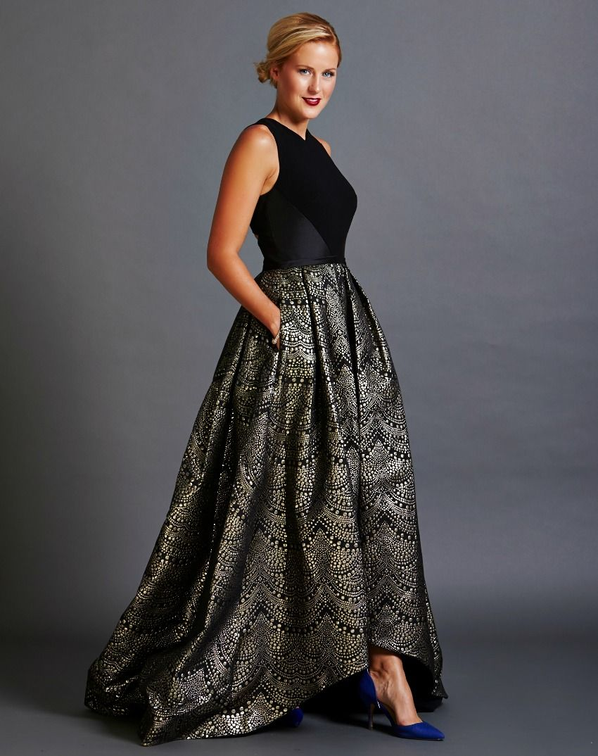 Sleeveless Black and Gold High Low Gown with Cutout Back | military ...