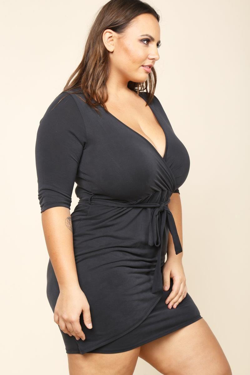plus size belted mini wrap dress dresses+ gs-love   anna krylova