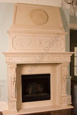Luxury Limestone Fireplace Mantle New York Florida