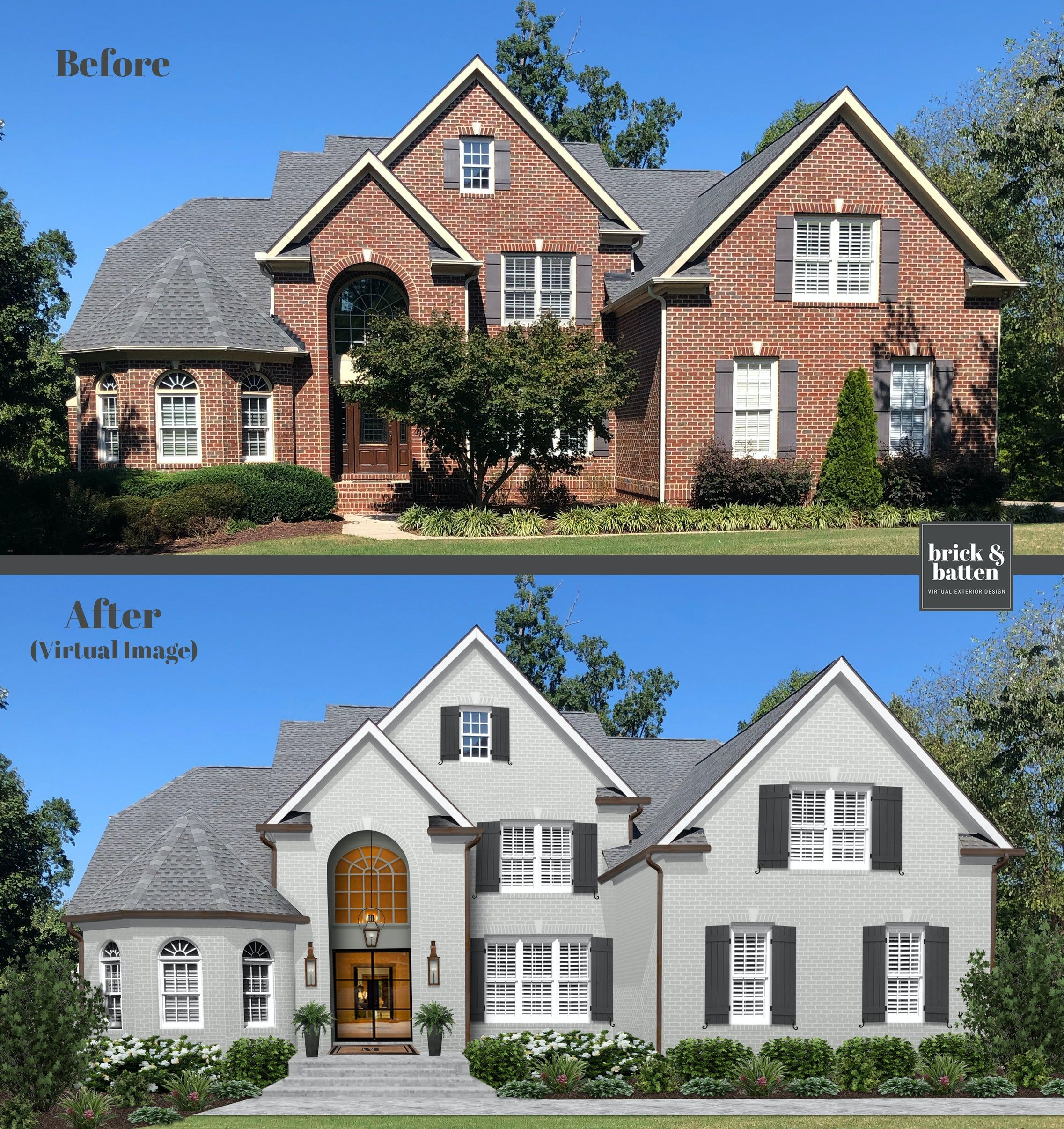20 Painted Brick Houses To Inspire You In 2020 Blog Brick Batten In 2020 Painted Brick House Brick Exterior House Painted Brick Exteriors
