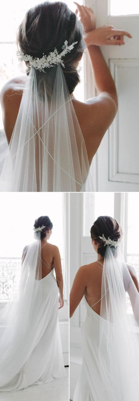 Top 20 Wedding Hairstyles with Veils and Accessories #bunupdo
