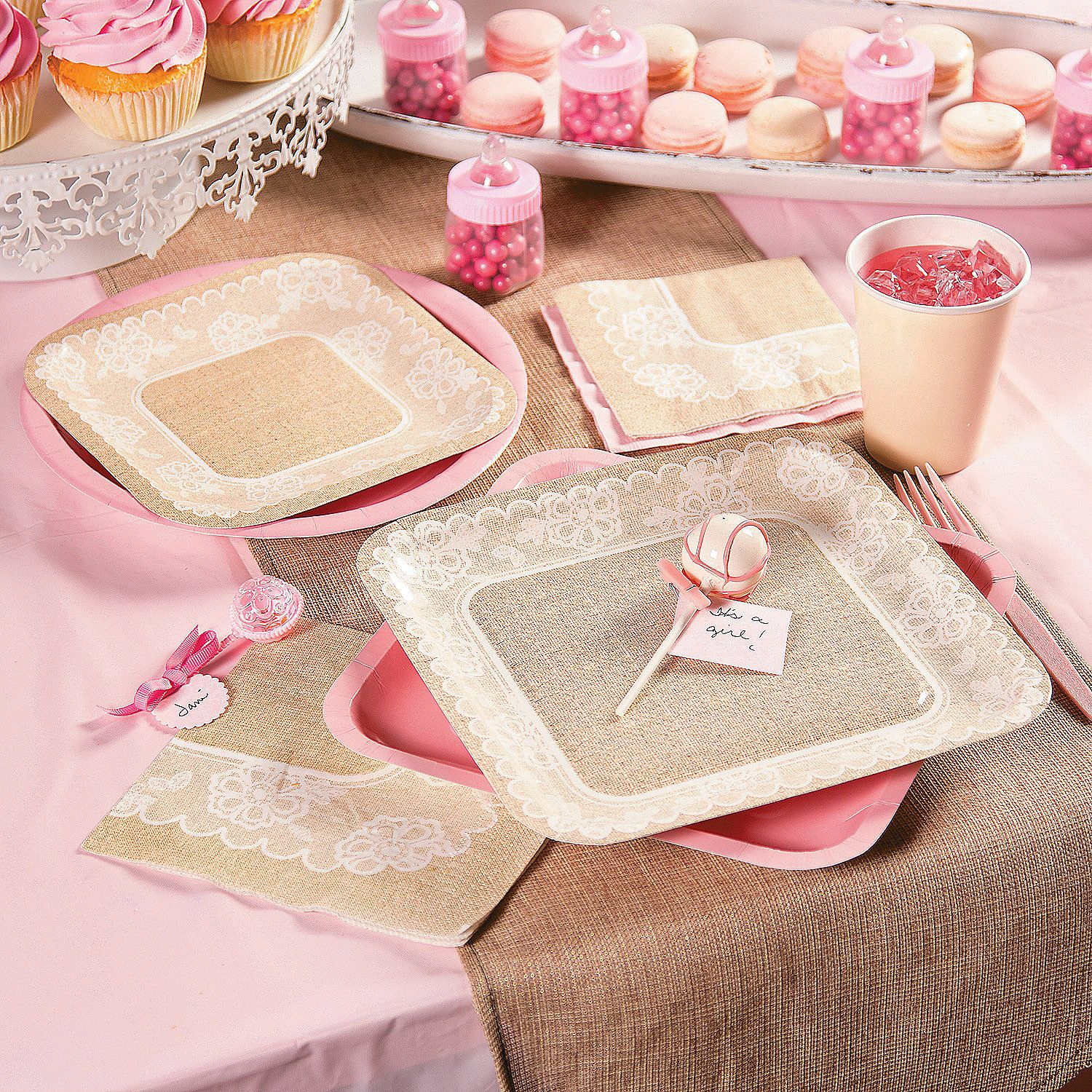 This trendy pink & burlap baby shower is so sweet The mom to be