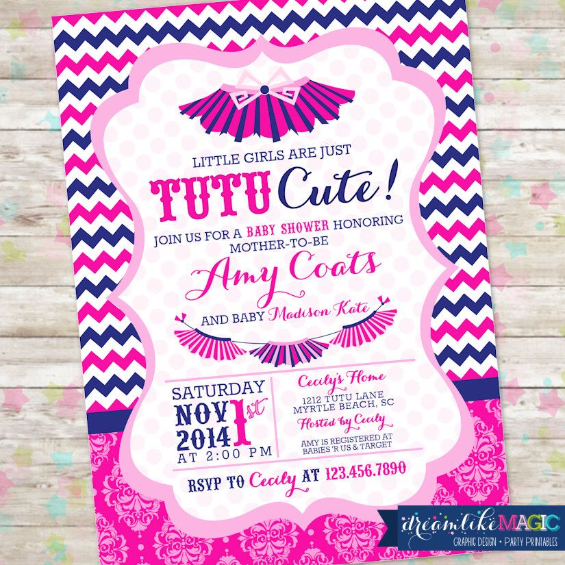 Baby Shower Invite- Baby Girl- Baby Sprinkle Invitation, Tutu Cute, Hot Pink and Navy, Printable Invitation Digital, Chevron, Baby Sprinkle by DreamlikeMagic on Etsy https://www.etsy.com/listing/205016226/baby-shower-invite-baby-girl-baby
