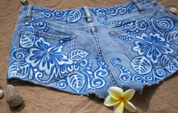 Hand bleached Hibiscus design with blue outline by reMusedClothing