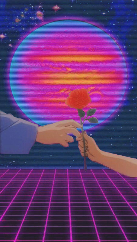 aesthetic vaporwave pink blue purple anime 90sanime