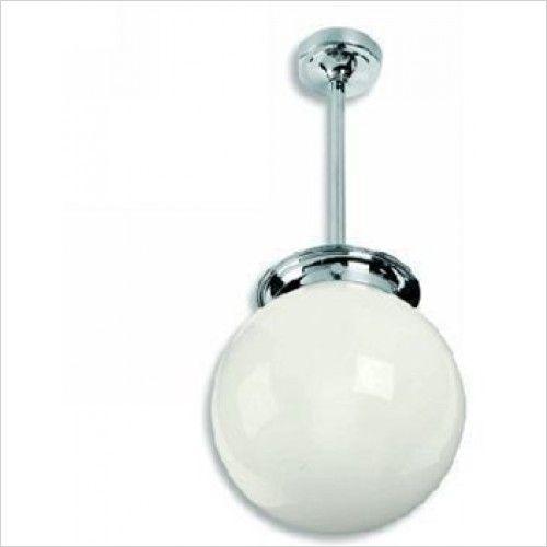 Lefroy Brooks - Classic Drop Ceiling Light With Tubular Stem + 8'' Opal Glob