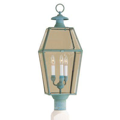 Sol 72 Outdoor Estevan 3 Light Lantern Head Finish Verde Lamp
