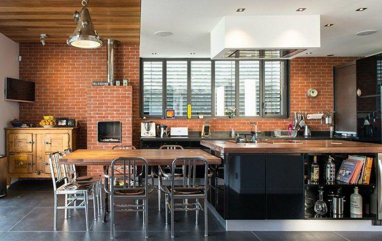 mur briques expos es dans la cuisine une tr s belle id e d co briques mur en brique et mur. Black Bedroom Furniture Sets. Home Design Ideas