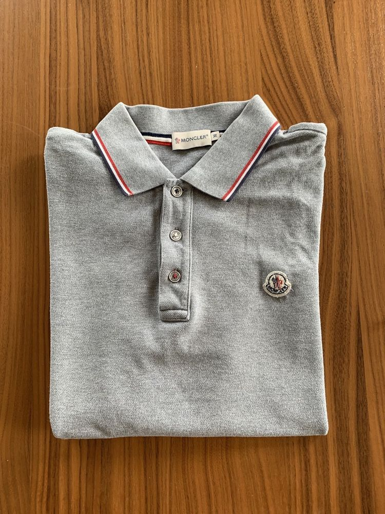 518d216e2 MONCLER Mens Gray Polo Shirt Size Medium 100% original With Hologram ...
