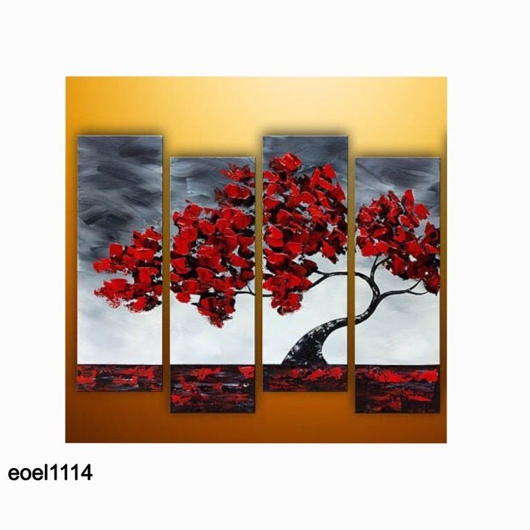 Oil Painting Wall Art Home Decor Wood Framed Canvas Leandscape Red ...