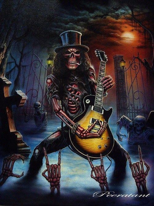 Slash (:€ | HARD ROCK & METAL | Guns N Roses, Skull art ...