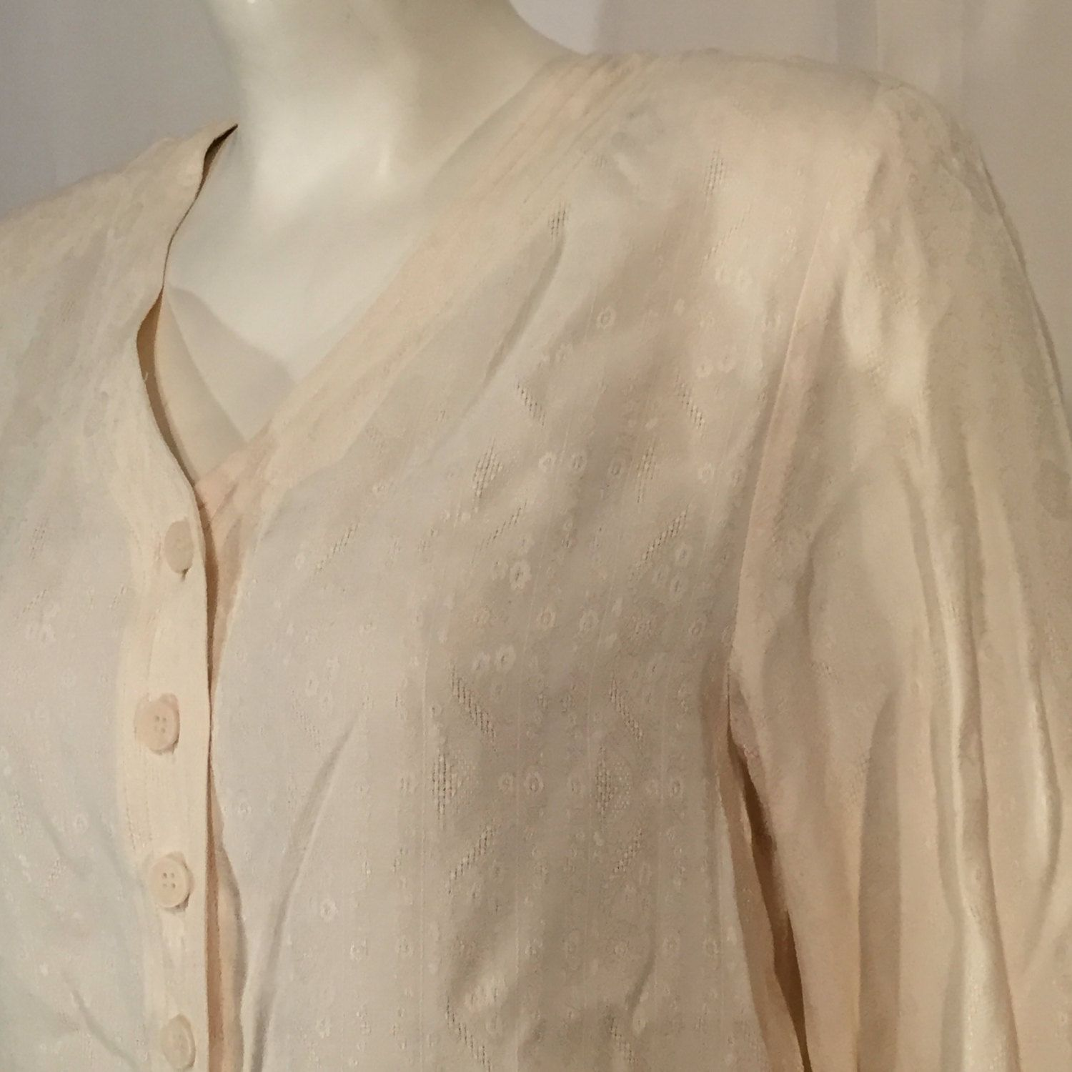 b83dd0bddf6f8d Vintage 90s Sigrid Olsen Small S Off White Cream Long Sleeve Button V Neck Shirt  Blouse Flower and Woven Pattern Carole Little Made in USA by ...