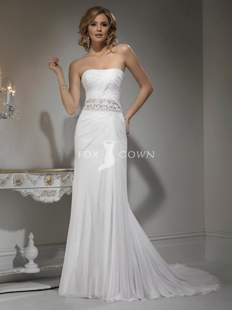 7525187426fcf strapless slim line chiffon wedding dress with magnificent jeweled band at  natural waist