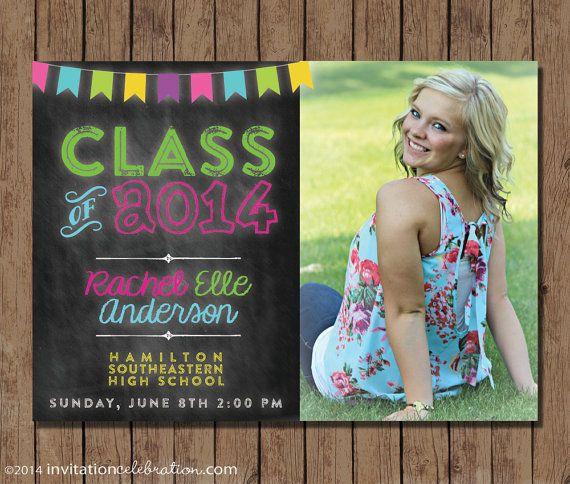 Neon Chalkboard Graduation Invitation or Announcement  Open by InvitationCeleb, $16.00