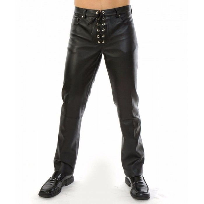 new products for good fresh styles Men's 501 Trousers Laces Up Front Closure Leather Pants in ...