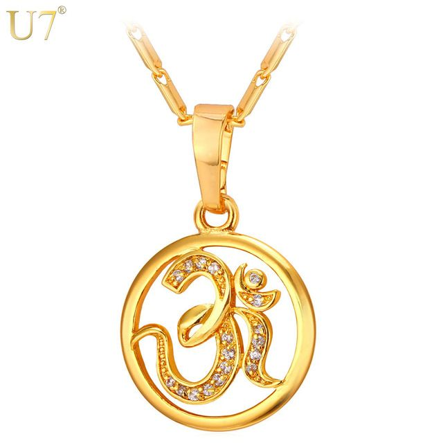 U7 AUM OM Pendant Charm Necklace Zircon India Hinduism