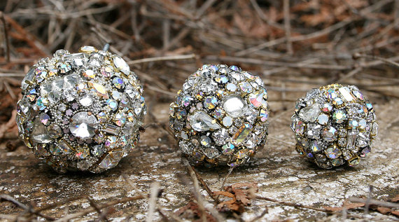 Vintage Rhinestones Crystals Ball Orb Sphere Ornaments Trio  Clear / Iridescent