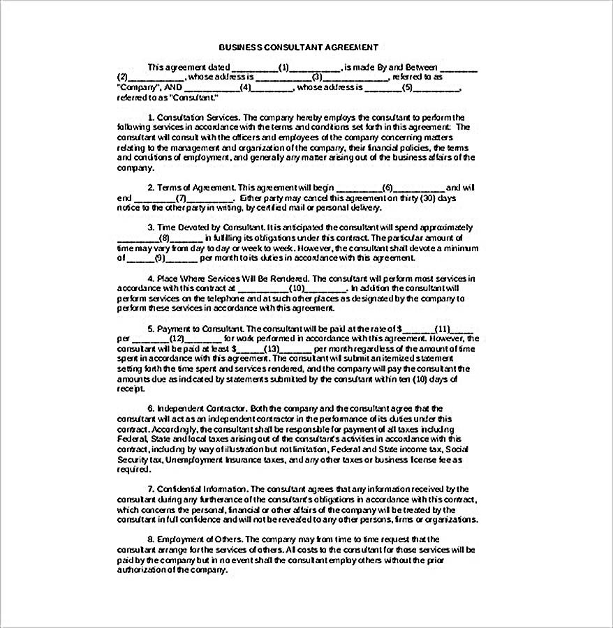Business Consultant Agreement 9 Consulting Agreement Template Understanding About Consulting Agreement Tem Consulting Business Contract Template Agreement