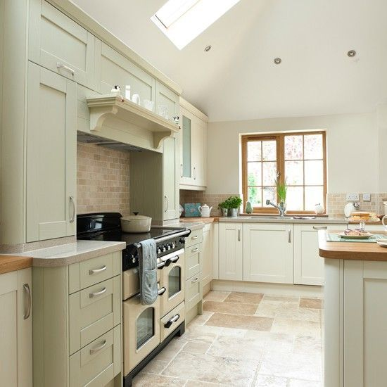 Cream And Sage Green Kitchen I Designed And Ended Up In A Magazine Solid Oak Worktops Mixed With A Cream Quartz Worktop