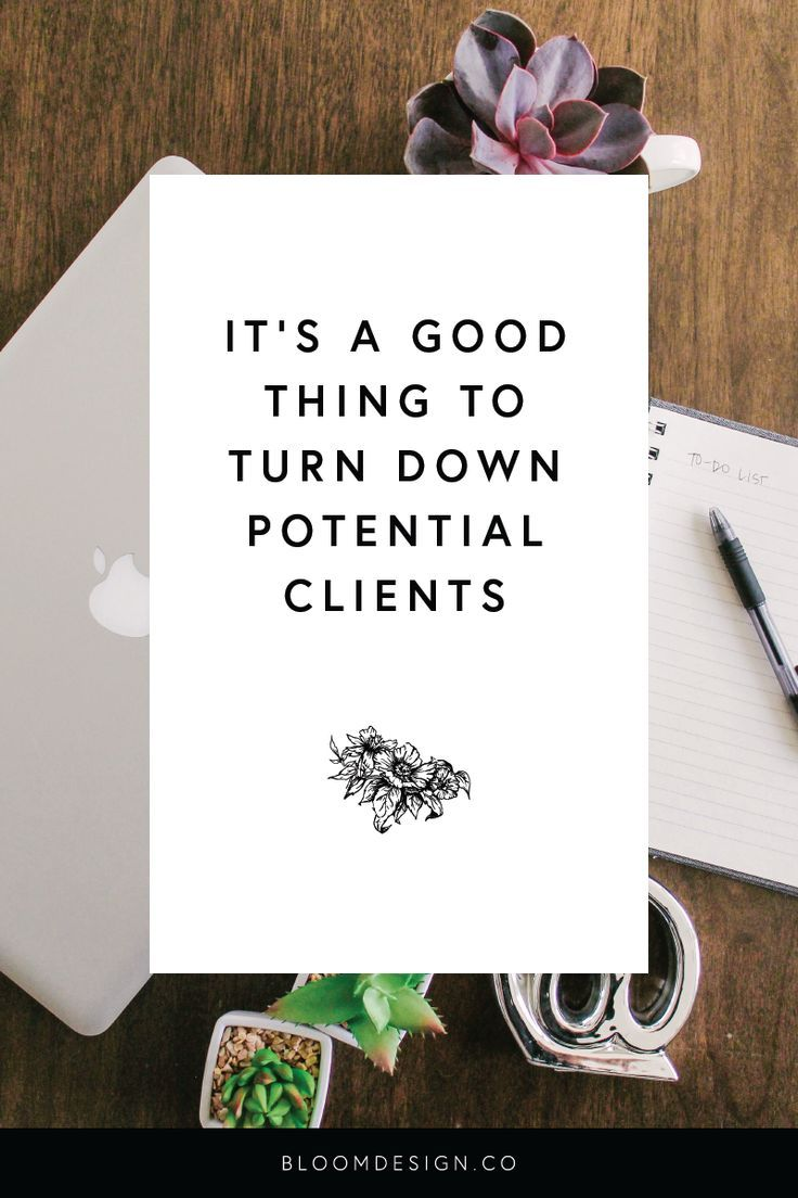 Although it may seem counter-intuitive, it's actually a good thing to turn down potential clients if you aren't 100% confident that they'll be a great fit for your business! #sidehustle  #onlinemarketing #creativebiz #girlboss #virtualassistant #graphicdesigner #creativepreneur #sidejob #sahm #wahm #momboss #bossbabe #bloomdesignco