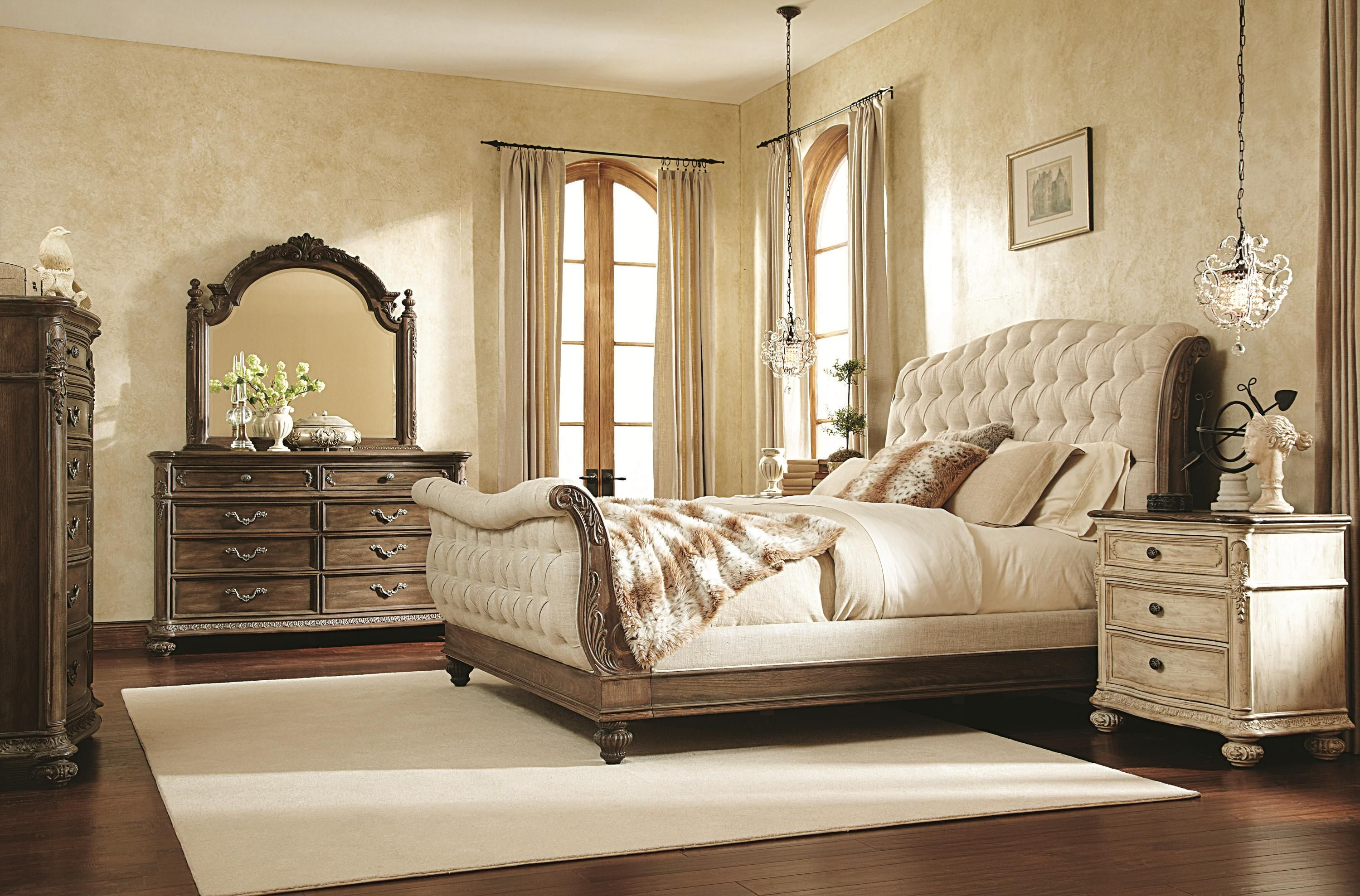 Upholstered Sleigh Beds Queen | jessica mcclintock home the ...