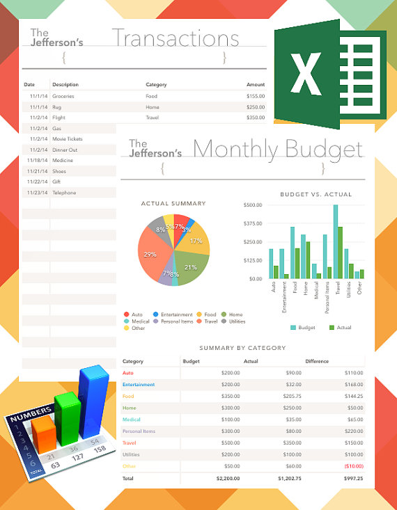 Monthly Financial Budget Spreadsheets EDITABLE and by PRINTCOLOR