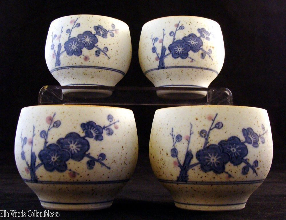 Lovely Set of 5 Porcelain Arita Imari Japanese Sake Cups Cherry Blossoms Kisen #ImariAritaKisen