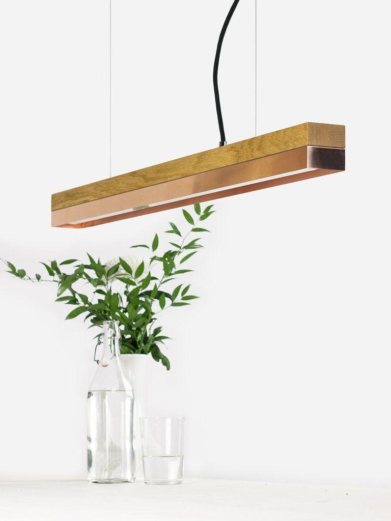 C2o]copper Pendelleuchte Eichenholz und Kupfer klein Beton