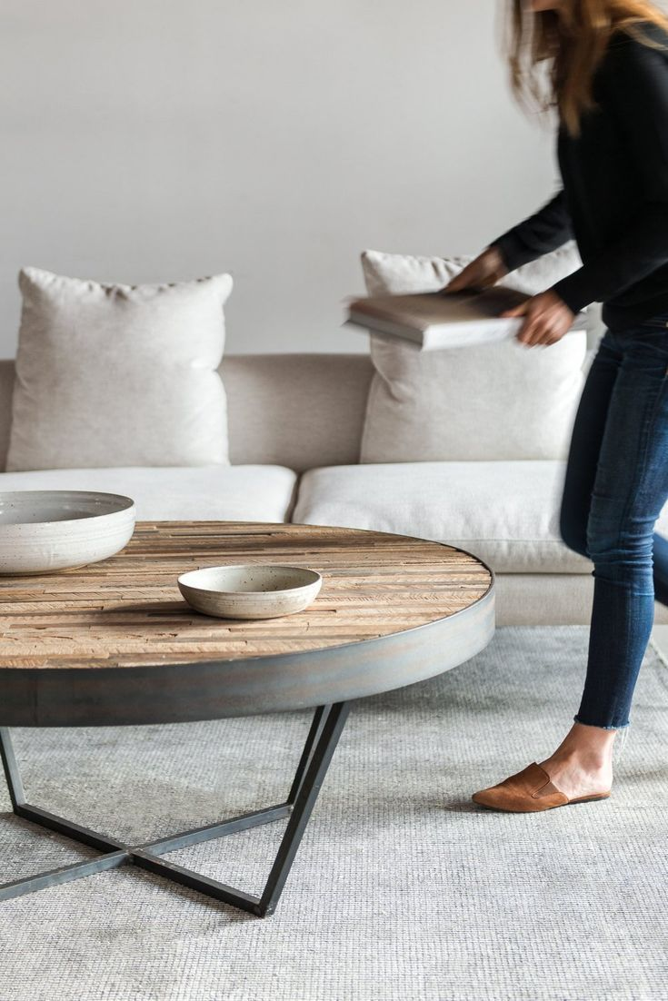 - Reclaimed Wood Round Coffee Table, Patchwork Design - #Coffee