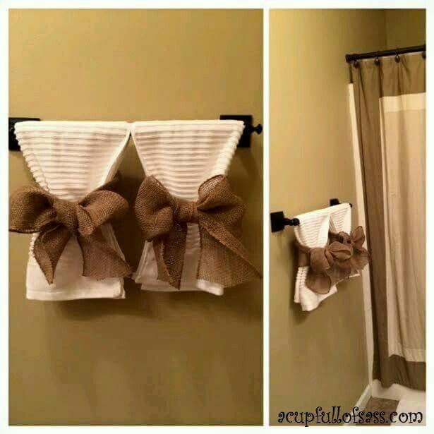 This Will Be Happening In The House When We Move Decorative Towels To Match Primitive Chic Countr Bathroom Towel Decor Restroom Decor Bathroom Towels Display