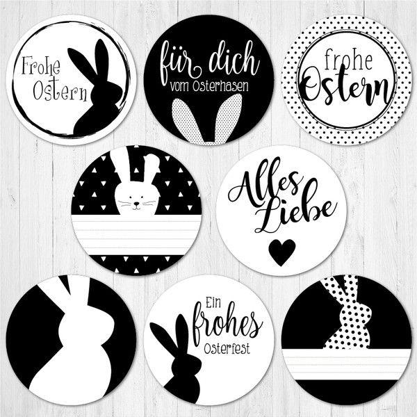 24 Stickers Stickers Easter Black And White Aufkleber Ostern Zeichnen Osterhasen Bilder