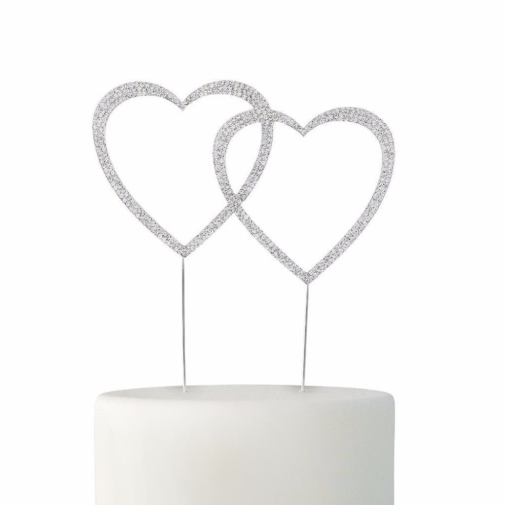 Double Heart Crystal Rhinestone Cake Topper in Silver