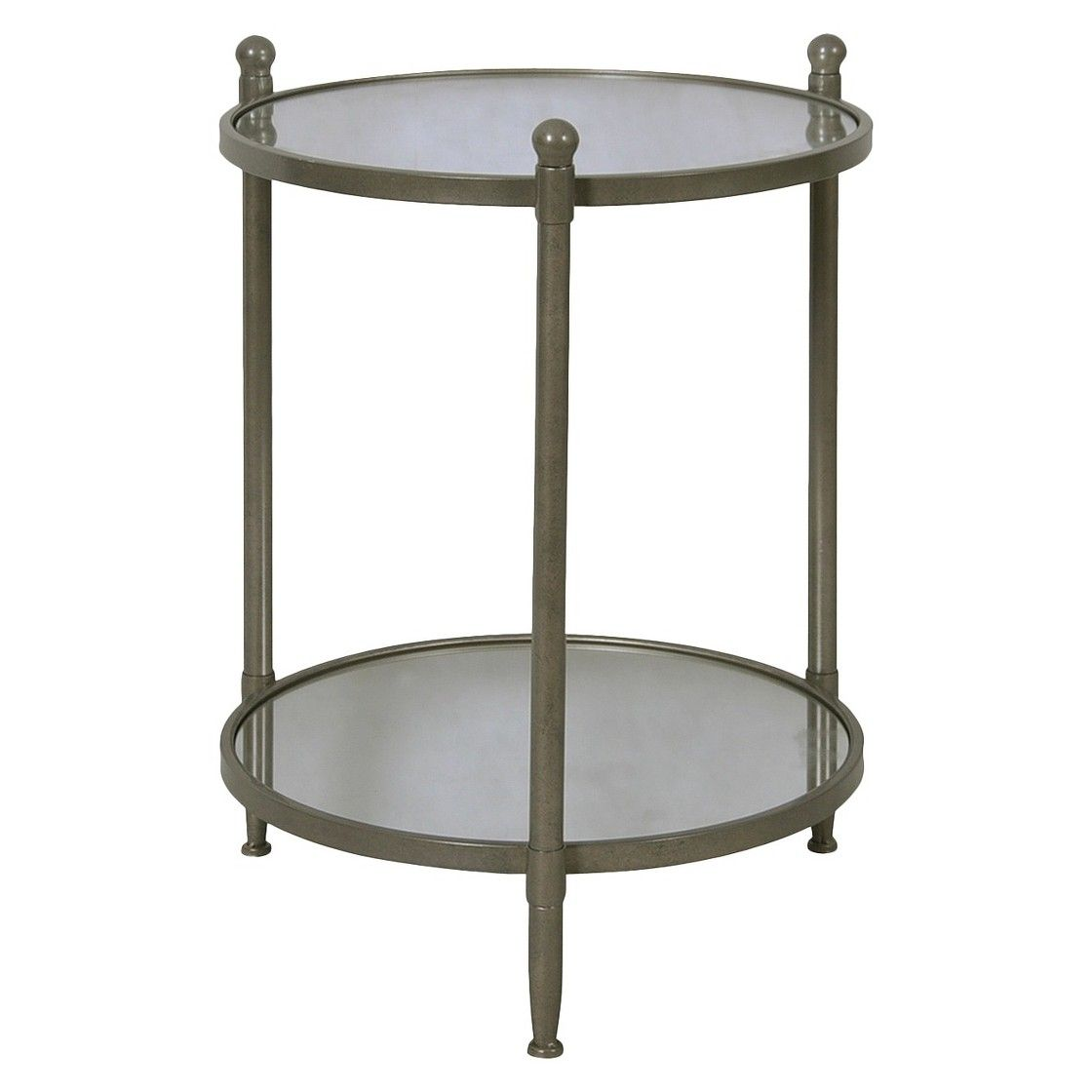 Target Threshold Two Tier Round Mirrored Side Table   Antiqued Pewter