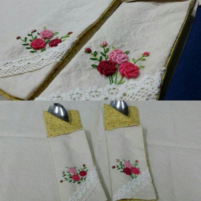 #rose hand embroidery  spooncase #장미자수수저집 #자수수저집