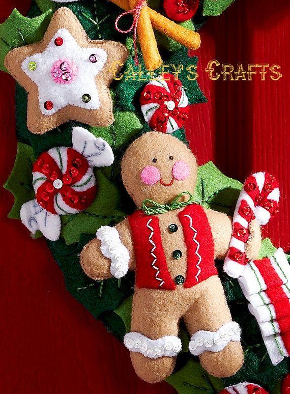 Bucilla Cookies Candy Wreath Felt Christmas Home Decor Kit Brand New 2011 Pattern This Wrea Felt Christmas Felt Christmas Ornaments Christmas Crafts
