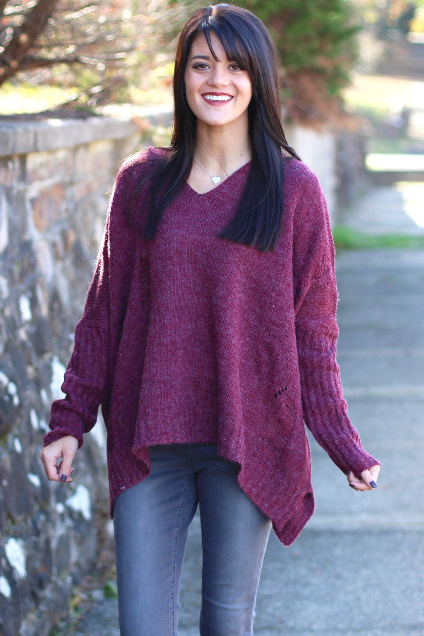 Oversized, Distressed Hooded Sweater {Burgundy} - The Fair Lady Boutique - 1