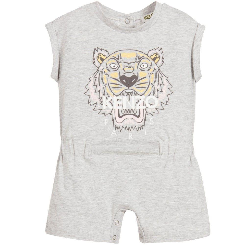 a20cb3fffb0 Kenzo Baby Girls Grey Cotton Tiger Playsuit at Childrensalon.com