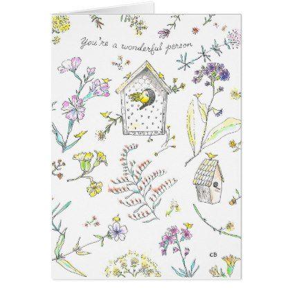 """""""Wonderful"""" Friendship Card - flowers floral flower design unique style"""