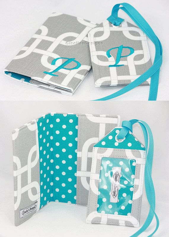 Gray and teal Personalized Passport Cover and Luggage Tag Set ...