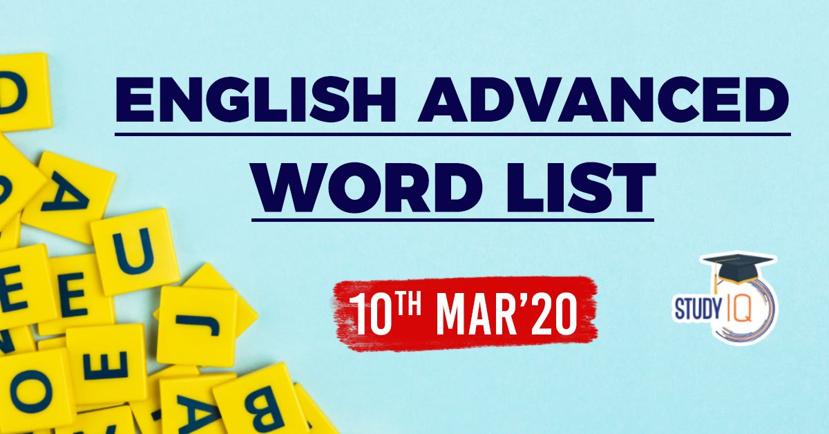 Daily Word List English Vocabulary 10th March 20 2020