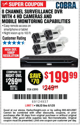 Cobra 8 Channel Surveillance Dvr With 4 Hd Cameras For 199 99 In 2020 Hd Camera Surveillance Harbor Freight Tools