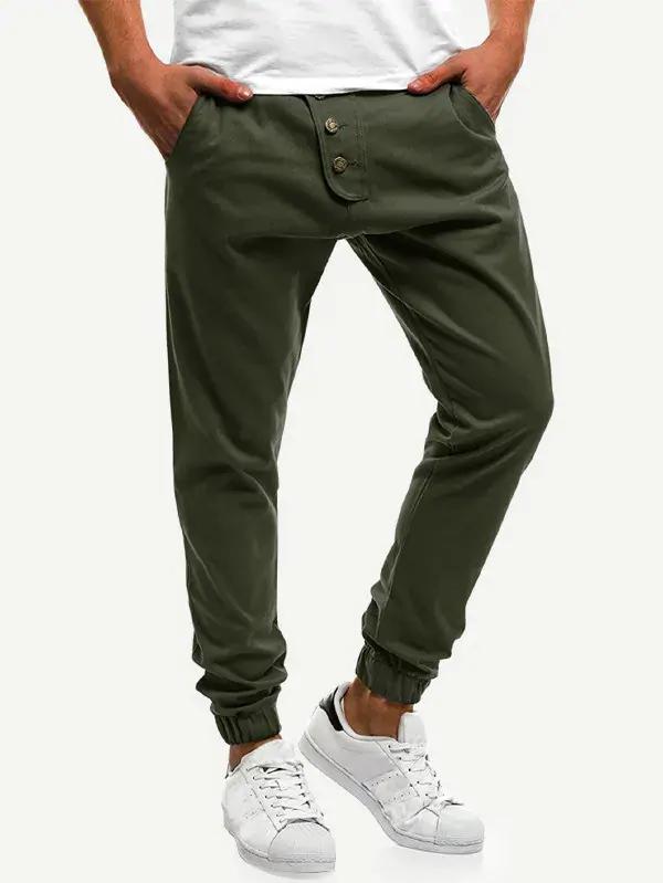 Pantalones Sencillos De Hombres Con Diseno De Boton Shein Espana Tipo De Pantalones Ropa De Hombre Pantalon Con Lazo