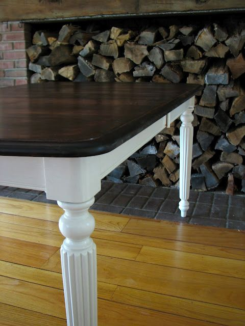 White Table With Dark Wood Top Part - 50: Mahogany Farm Table - Stained With Minwax Red Mahogany And Sealed With 5  Coats Of Wipeable Poly In Satin, Sanding In-between Each Coat With 220 Grit  Sand ...