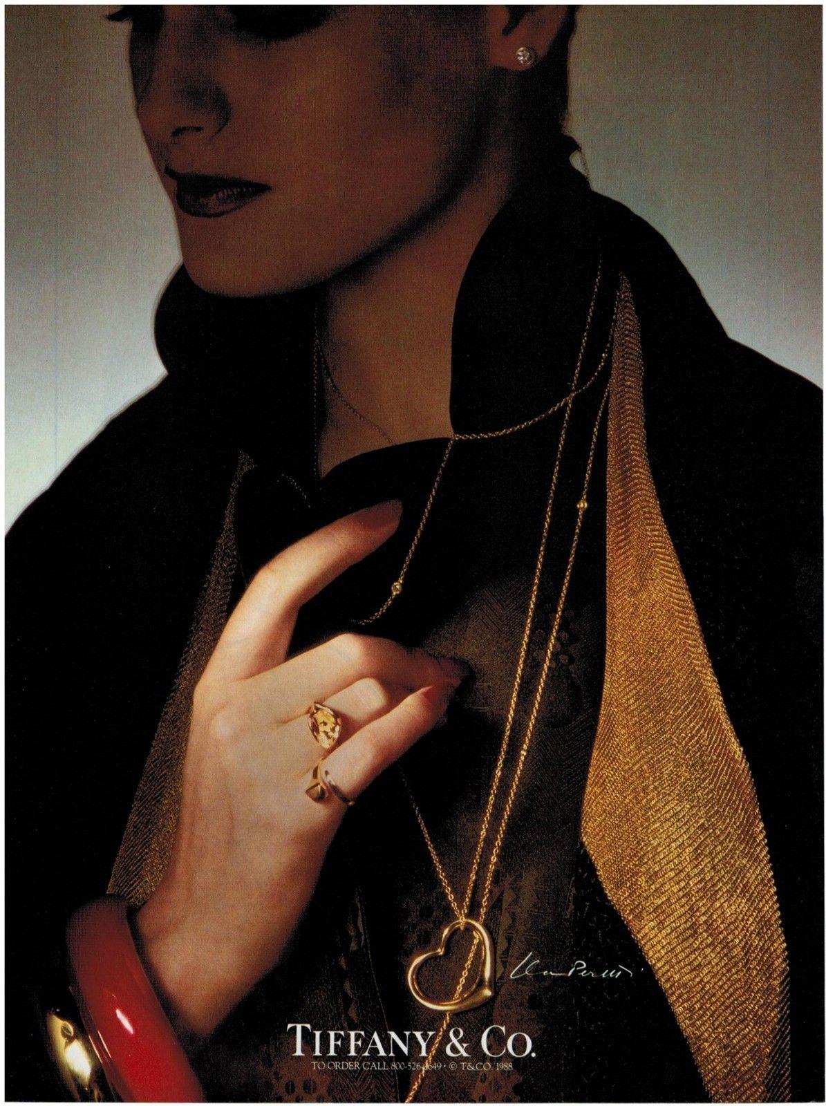 1988 TIFFANY & CO JEWELRY ELSA PERETTI Chain & pendant heart PRINT AD