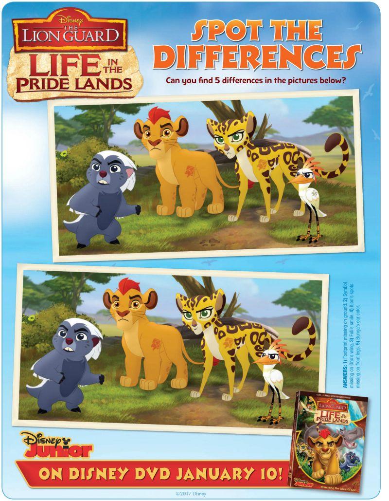 Disney Lion Guard Spot The Differences Activity Page   Disney ...