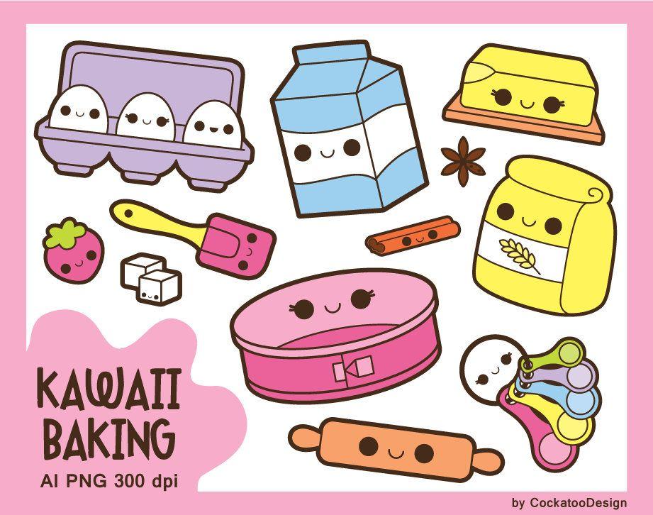 Kawaii Baking Clipart Kawaii Cooking Clipart Kawaii Groceries