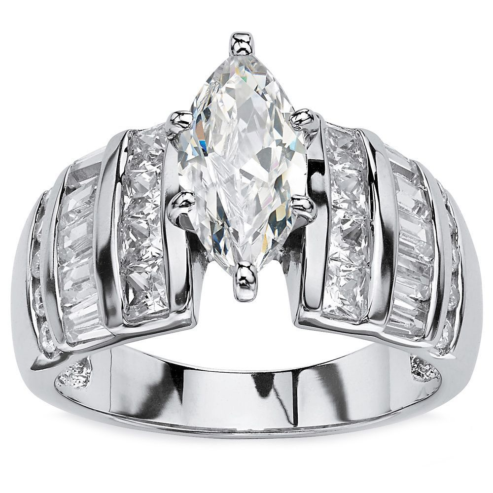 Platinum Over Sterling Silver Cubic Zirconia Channel Engagement Ring White Sterling Silver Jewelry Vintage Engagement Rings Jewelry