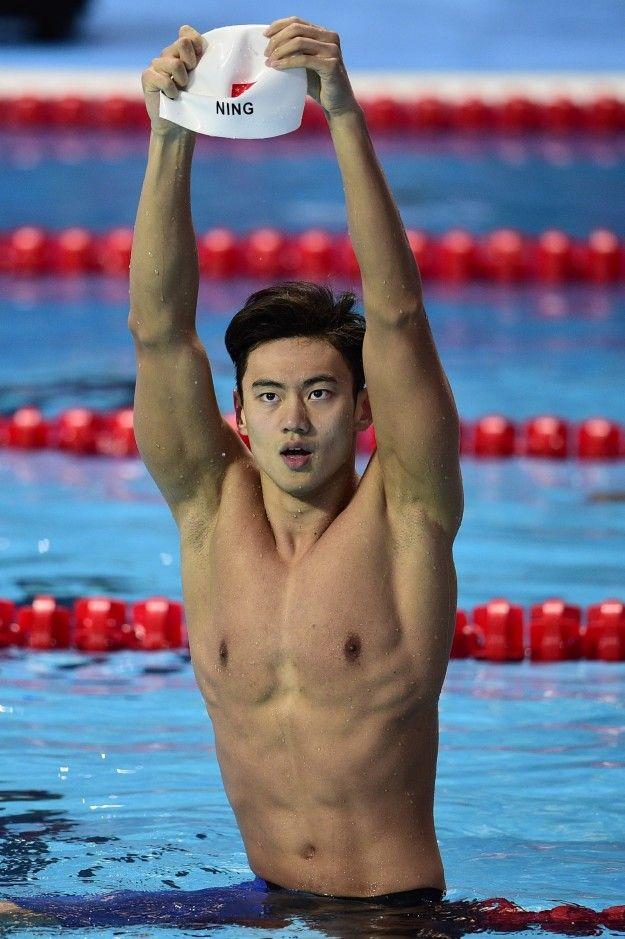 Chinese guys swimming